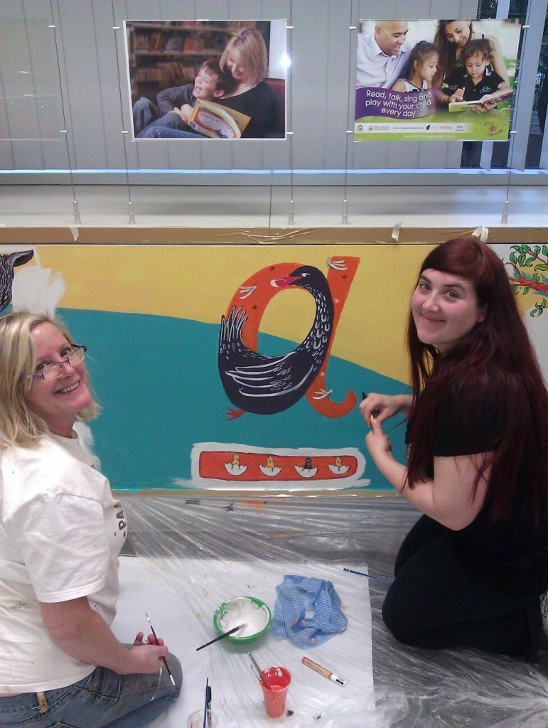 Frané Lessac and Briony Stewart work on The Ugly Duckling in an 'A'
