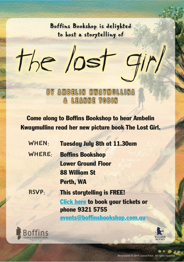 Book Launch of The Lost Girl is at Boffins Bookshop on Tues July 8th at 11.30am, contact Boffins to RSVP