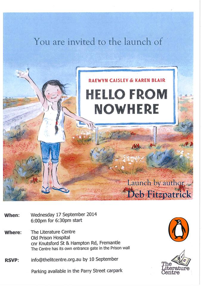 Hello from nowhere book launch invitation - 6.30pm on 17th September at The Literature Centre in Fremantle, WA. RSVP to The Literature Centre